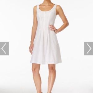 White Nine West fit and flare dress